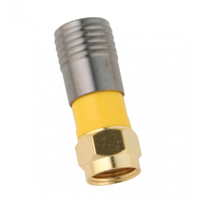 Binary F Male Compression Connector for RG6/U Gold Bag of 20